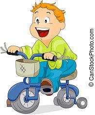 niño, en, bicicleta