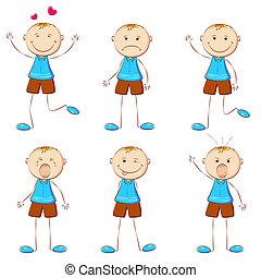 niño, en, diferente, humor