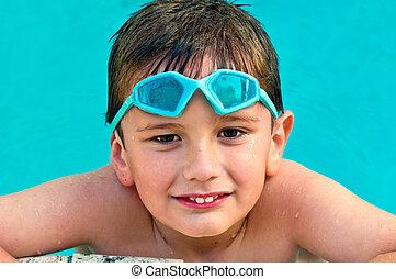 niño, en, el, piscina