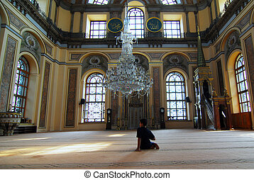 niño, en, estambul, mezquita