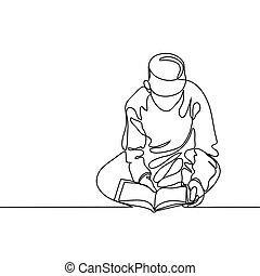 niño, en, fez, lectura, koran.