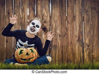 niño, en, halloween