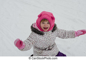 niño, en, nieve