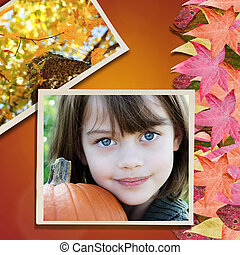 niño, en, otoño