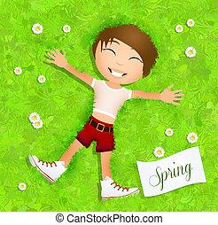 niño, en, primavera