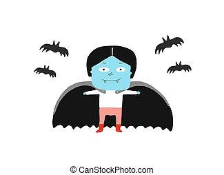niño, en, un, vampiro, disfraz, y, murciélagos