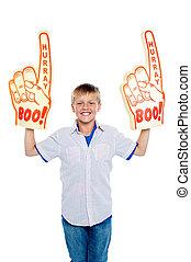 niño, energético, actuación, joven, ventilador, verdadero, espíritu