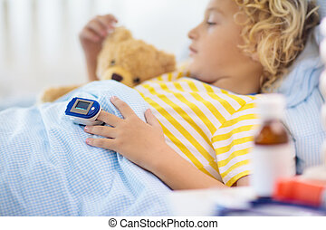 niño, enfermo, asthma., enfermo, oximeter., child., pulso
