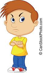 niño, enojado, caricatura