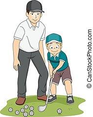 niño, entrenador, golf, niño