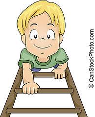 niño, escalera