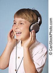 niño, escuchar, música