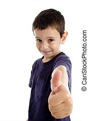 niño, escuela, actuación, arriba, pulgares