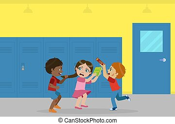 niño, escuela, burla, pelota, lucha, intimidar, malo, vector...