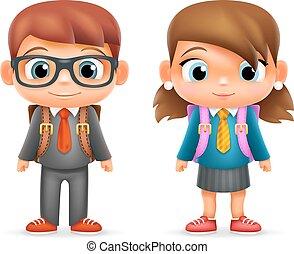 niño, escuela, conjunto, ilustrador, carácter, aislado, realista, vector, diseño, alumno, niño, 3d, niña, educación, caricatura, icono