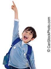 niño, escuela, el suyo, aumento, excitingly, arriba, joven, gritos, mano