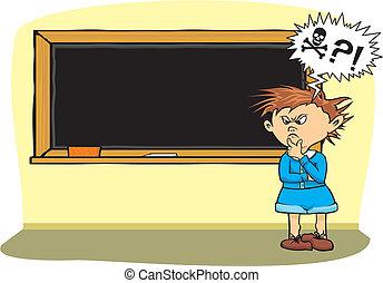 niño, escuela, -, miedo, problema