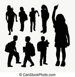 niño, escuela, silueta, niña