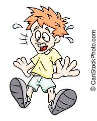 niño, espantado, caricatura