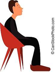 niño, esperar, alguien, sentado, color, joven, ilustración, dibujo, salón, mientras, vector, silla, o, rojo