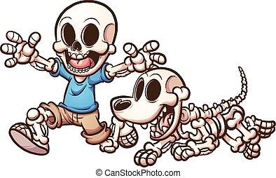 niño, esqueleto, perro