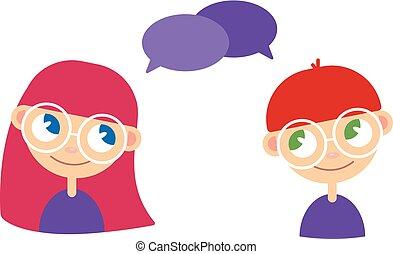 niño, estilo, helping., hablar, espacio, cómicos, responder, text., dos, caricatura, aconsejar, preguntar, niña, preguntas, niños, burbujas, vacío, hablar