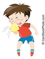 niño, estornudar, camisa, rojo