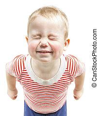 niño, estrecho, cerrado, divertido, encima, niño, aislado, deseos, plano de fondo, soñar, bebé, sonriente, ojos, blanco, feliz