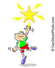 niño, -, estrella, ilustración