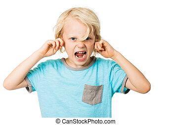 niño, estridente, bloquear orejas