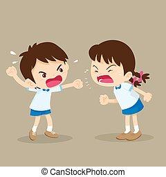 niño, estudiante de niña, pelea