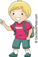 niño, estudiante, señalar el dedo