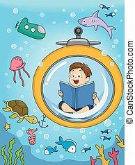 niño, estudio, libro, niño, submarino