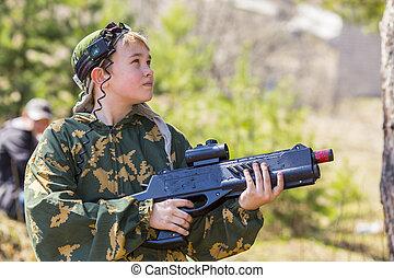niño, etiqueta, arma del laser, juego