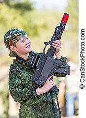 niño, etiqueta, juego, arma de fuego, lazer
