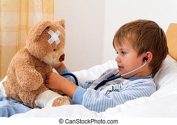 niño, examinado, estetoscopio, enfermo, teddy