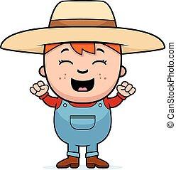 niño, excitado, granjero
