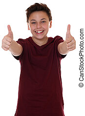 niño, exitoso, actuación, joven, arriba, pulgares, adolescente