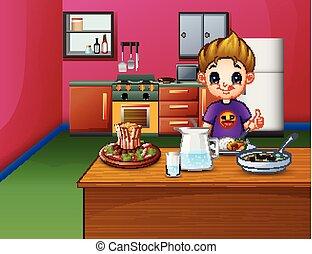 niño, feliz, comida, tabla, cenar