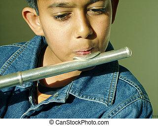 niño, flauta, juego
