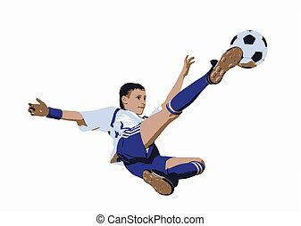 niño, futbol, futbolista, (vector), pelota