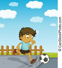 niño, futbol, joven, juego