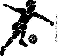 niño, futbol, silueta, patear