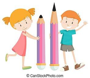 niño, gigante, niña, lápices