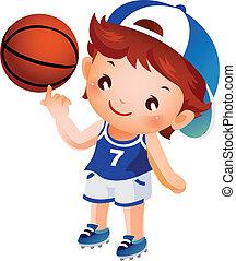 niño, girar, baloncesto, dedo