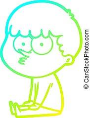 niño, gradiente, dibujo lineal, esperar, frío, caricatura,...