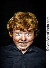 niño, grasa, pecoso, retrato