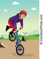 niño, hacer, un, escena peligrosa de bicicleta