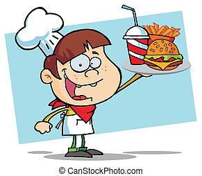 niño, hamburguesa, bebida, arriba, chef, tenencia