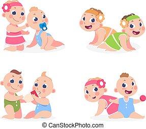 niño, hermana, el sentarse junto, caricatura, recién nacido, divertido, vector, gemelos, plantilla, lindo, brother., babies., niña, niños, feliz